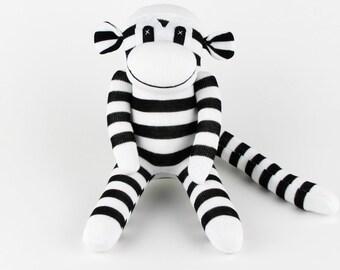 Christmas Gift Handmade Black Striped Sock Monkey Stuffed Animal Doll Baby Girls Toys Birthday New year Gift