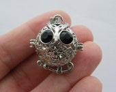 1  Owl wish box pendant antique silver tone O77