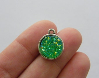 4 Green resin druzy antique silver tone charms M836