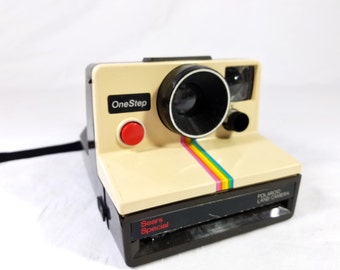 1970s Polaroid ONE STEP Sears Special - Rainbow SX-70 Instant Land Camera in Tan and Brown