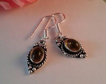 Citrine Earrings,Silver 925