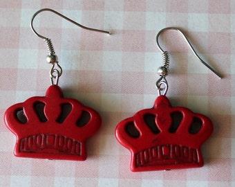 Crown Earrings Red,Boho Earrings