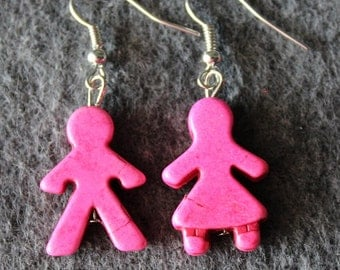 Boy and Girl, Earrings, Pink,Gender Earrings