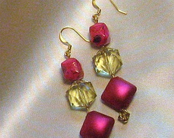 Funky 80s-Inspired Fuchsia and Yellow-Green Beaded Earrings