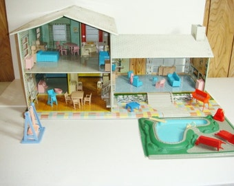 Metal Dollhouse Tin Lithograph Mid Century Modern Style - Marx