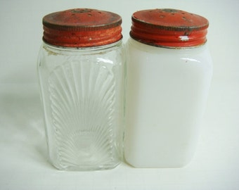 Milk Glass and Clear Glass Salt and Pepper Shakers - Red Top