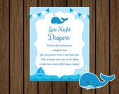 Whale Baby Shower Late Night Diapers Game Sign, Whale Baby Shower Wee Hours Game, Late Night Diapers Sign, Instant Download