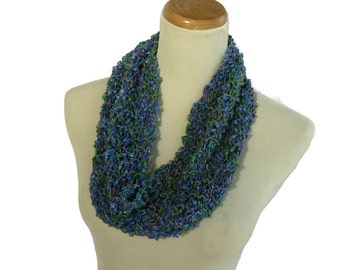 Circle Scarf, Knit Cowl, Blue Aqua Scarf, Spring Scarf, Mother's Day, Gift For Her, Fashion Accessory, Fiber Art, Loop Scarf, Knit Scarf