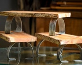 Set of 3 Live Edge Serving Board Table Shelves On Steel Legs