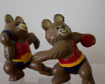 Olympic Rubber Bears/ Pair/ Vintage USSR Bear Moscow 1980 Olympics