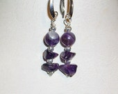 Amethyst Grade A Earrings Chip  8mm Bead of Amethyst   Color Me Purple   February Birthstone  Valentine  Free Shipping in USA