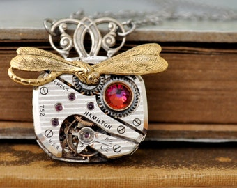 petite art deco, TINY TIME TRAVELER antiqued silver steampunk watch movement and gold dragonfly charm necklace