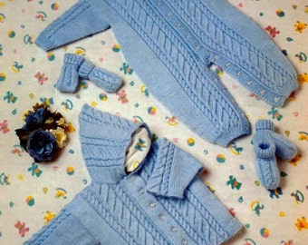 download  Baby Knitting PATTERN -  All in One Romper, Hooded Jacket, Mitts and Bootees Prem to 2 years