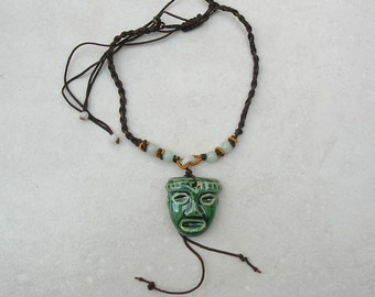 Mexican Olmec/Zapotec pre-Mayan Ceramic Mask, Jade Beads, Adjustable Fabric Cord, Unisex Necklace by SandraDesigns
