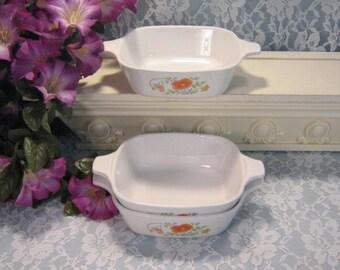 "Corning Ware Vintage Pyroceram Wildflower Individual Petite Casserole, Set of Three, 1 3/4"" Cup, Mid Century Cookware Bakeware, Corelle"