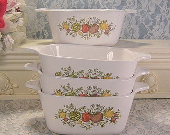 Corning Ware Pyroceram Spice of Life Petite Individual Casserole, Set Four, 2 3/4 Cup, Vintage Mid Century Kitchen, Glass Cookware Storage