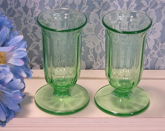 Green Depression Glass Paneled Vase Set of Two, Vintage 1930s Depression Antique Glass, Home Decor, Kitchen Glass Collectible