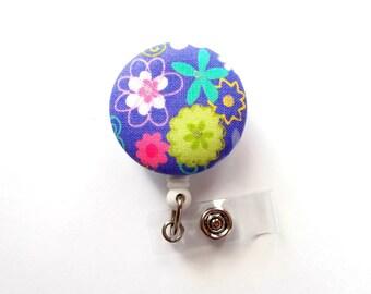 Spring Floral - Retractable ID Badge Holder - Cute ID Badge Reel - Designer Badge Holder - Nursing Badge Clip - Teacher Badge - RN Gift