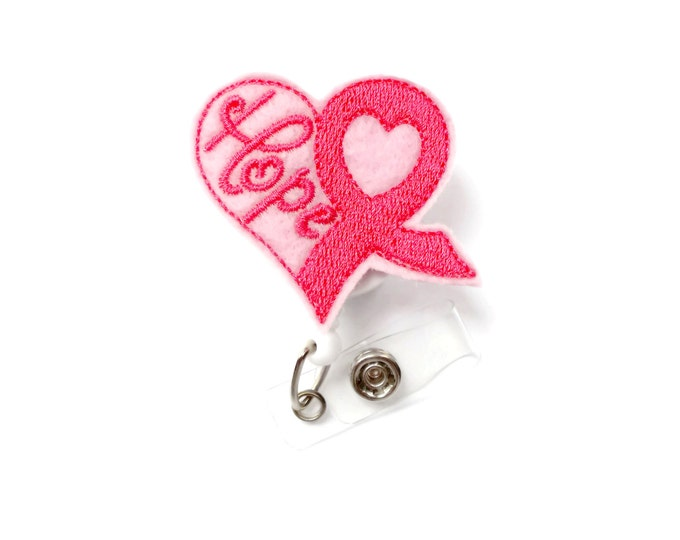 Pink Ribbon Breast Cancer Awareness Badge Holder - Oncology Nurse Badge Reel - Breast Cancer Badge - Awareness Badge Reel - Hope Badge Clip