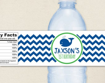 Whale Party - 100% waterproof personalized water bottle labels