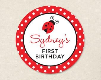 Ladybug Party - Custom Stickers - Sheet of 12 or 24