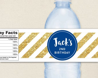 Blue and Gold Glitter Water Labels - 100% waterproof personalized water bottle labels