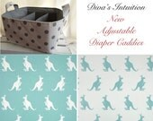 Diaper Caddy, Kangaroo Fabric Basket bin with adjustable and removable dividers Canal