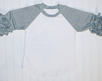 Gray Icing Ruffle Raglan Shirt, Choose Applique, Monogrammed, Girls Applique Shirt, Football Shirt, Team Colors, valentines