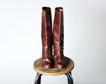 Vintage Mahogany Brown Leather Riding Boots- Flat Shoes Tall Knee High Lace Up Pointed- Size 7