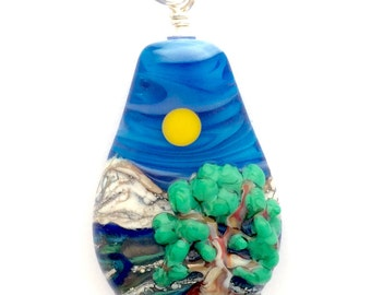 Lampwork Pendant: 3D Deciduous Tree with Sun Water & Mountain Landscape with .925 Sterling Silver Findings
