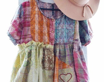Hippie patchwork babydoll top, ruffle top, boho style clothing, Sacred threads, Music festival Patchwork hippie shirt, True rebel clothing