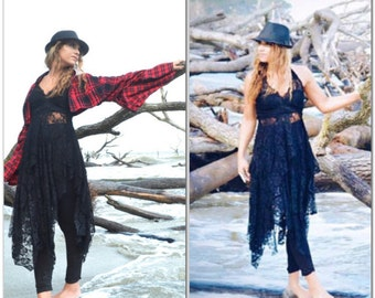 Boho Black Lace Tunic Dress, Bohemian Spring Dress, Gypsy Soul, Boho Chic Clothes, Stevie Nicks Style Gypsy Chic, True Rebel Clothing Med