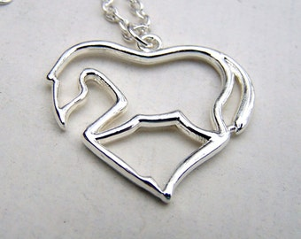 Silver Horse Necklace Equestrian Necklace Horse Necklace Horse Lovers Horse Pendant on Silver Chain Dressage Equine Gift for Her under 25