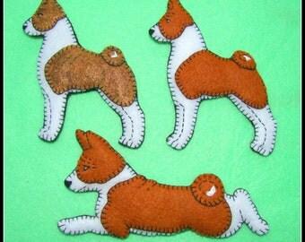 Basenji Christmas ornament-slash-Refrigerator magnet combo. Handmade embroidered felt-original design. Fun gift for your dog loving friends.