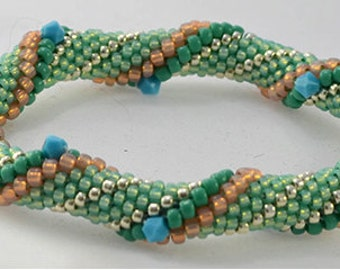 Bead Crochet Kit - Minty Fresh Intermediate Bead Crochet Kit.  Pearls, Crystals, Beads, Thread, and Pattern and Hints document