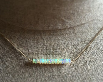 Welo Ethiopian Opal Bar Necklace, Opal Row Necklace, Gold Filled Beaded Necklace, Boho Jewelry, Opal Jewelry