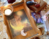 STAR CHILD, altar tray, decoupage tray art, moon goddess, mother moon, divine feminine, jewelry tray, crystals herbs storage, crescent moon