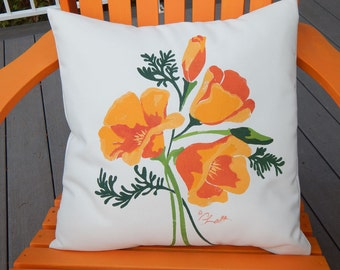 """POPPY PILLOW hand painted California Poppies 20"""" in shades of orange complete with insert Crabby Chris Original"""