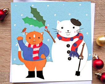 Cat Christmas Cards- Snowman Christmas Card- Ice Skating Christmas Card- Singles or Set of 6
