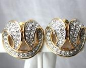 Vintage LES BERNARD Rhinestone Encrusted Clip On Earrings