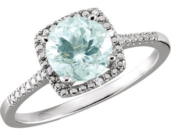 Aquamarine & Diamond Unique Engagement, March Birthstone Ring