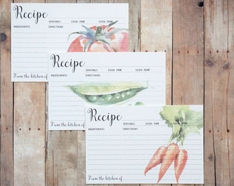 Recipe Cards 4x6 - Set of Watercolor Kitchen Vegetable Recipe Card - Gifts for Her, House Warming, Mother's Day, Hostess Gift