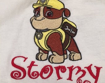 Paw Patrol girls shirt, Paw Patrol boys shirt, Paw Patrol embroidered with choice of name, size up to 5T and paw patrol character