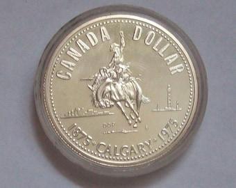 1975 Calgary Cowboy on Bronco Silver Dollar Canada