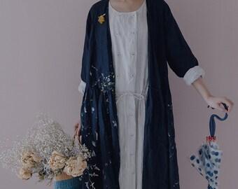 Linen panited robe blue dress