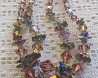 Vintage Necklace Aurora Borealis Beads Double Strand