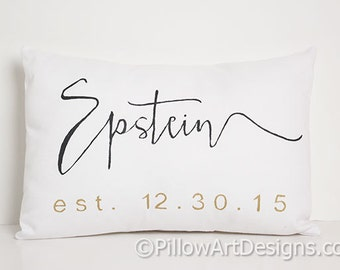 Personalized Name Est Pillow 9 X 13 White Cotton Black Metallic Gold Hand Painted Made in Canada
