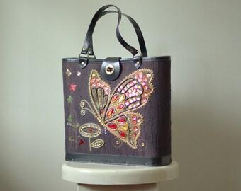 Vintage Bucket Bag 1960s Purse Black Bucket Bag Butterfly Purse with Beading Black Beaded Purse Large Black Purse Looks Like Enid Collins