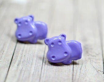 Purple Hippo Earrings, Purple Hippopotamus Earrings, Cute Jewelry, Adorable Animal Jewelry, Hungry Hippo Jewelry, Vegan Jewelry