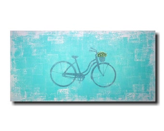 Original Large wall art Sale bicycle abstract painting oil paintings by jmjartstudio 18 x 36 blue  birthday gift artwork